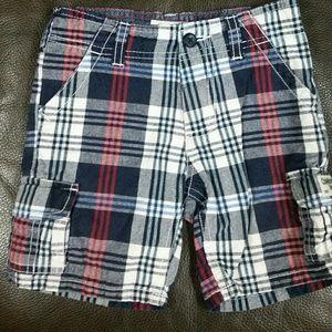 Oshkosh plaid shorts red, white blue 2T